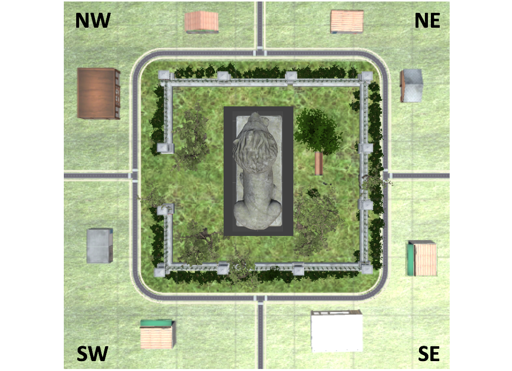 An overhead view of the virtual town