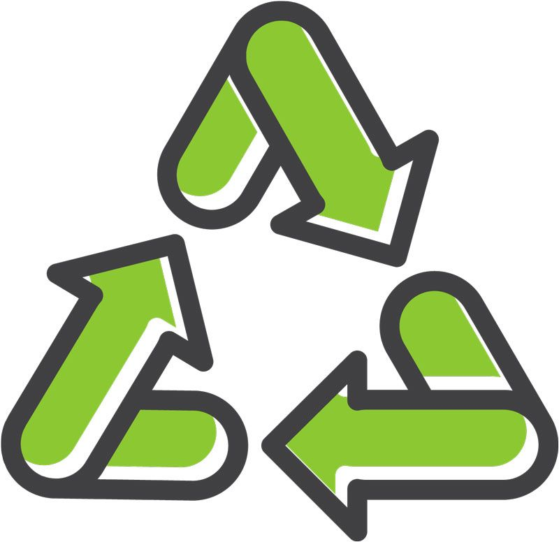An icon shows a green recycling symbol