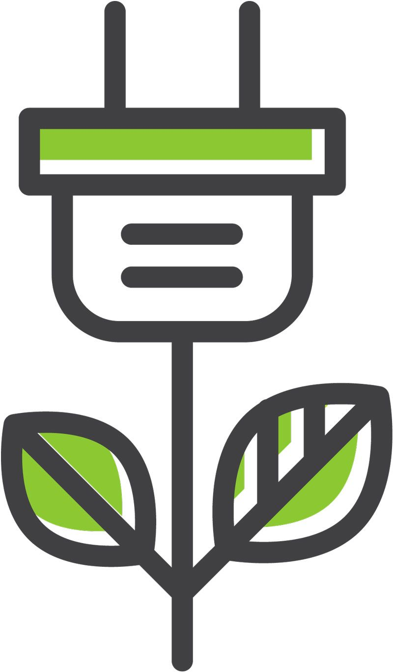 An icon shows an electrical plug with green leaves like a plant