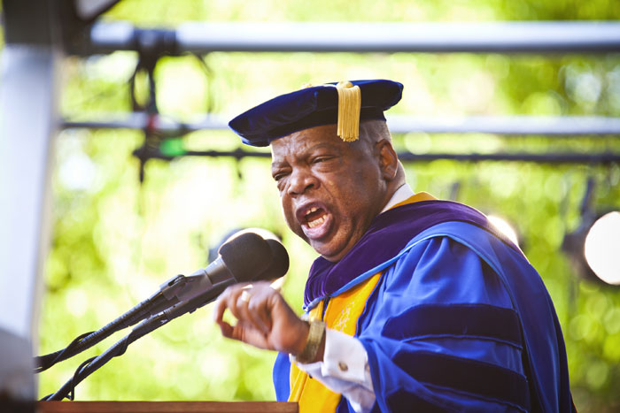 "Civil rights icon and U.S. Rep. John Lewis (D-Ga.) exhorted Emory¿s Class of 2014 to ""be bold, be courageous, stand up and speak out"" during his keynote address."