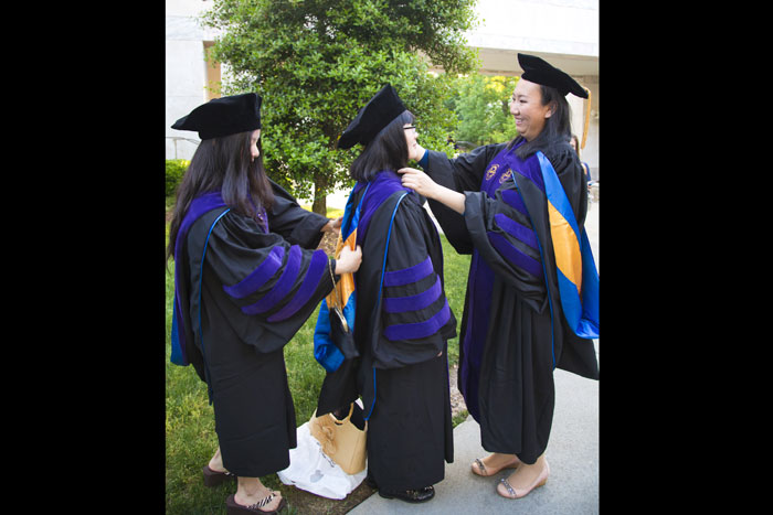 The 2014 Commencement will also be Emory's greenest ever. For the first time, all undergraduate graduation gowns and some professional doctoral gowns were made entirely out of recycled plastic bottles.