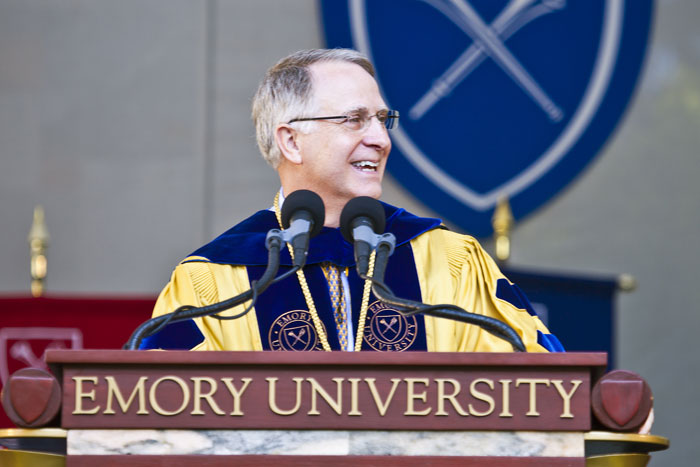 "President James Wagner congratulated Emory¿s newest alumni for embracing an education ""steeped in the ancient traditions and contemporary relevance of the liberal arts."""