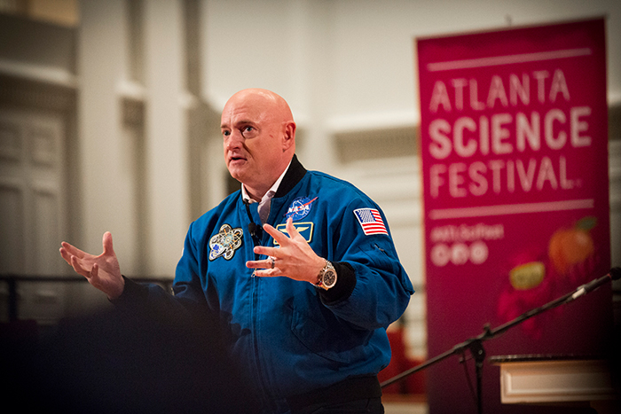 Astronaut Mark Kelley gives space travel talk at the Atlanta Science Festival 2017