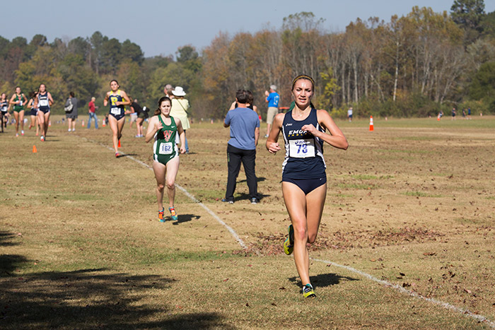 Gabrielle Stravach concentrates on her cross-country run.