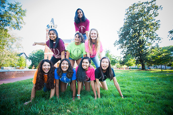 Oxford College students make a human pyramid at the Oxford Olympics.