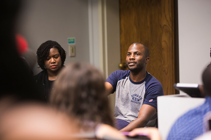 Worth Kamili Hayes speaks to students during a roundtable discussion at Emory's UNCF/Mellon Mays Summer Institute.