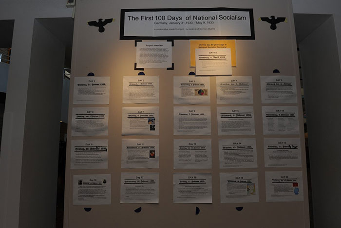 Several posters from this class project are on display in the Dobbs University Center (DUC).