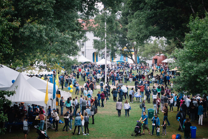 The Emory Quadrangle is crowded with tents and people during the Homecoming Festival