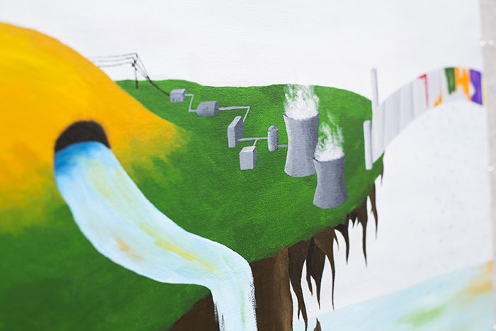 Kate Bernart's painting portrays Austin Ladshaw's research at Georgia Tech on the nuclear fuel cycle.