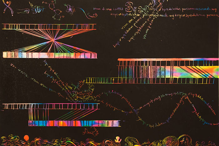 Alice Yang's art used the medium of scratch-off paper to portray the nanomapping of fluorescent-labeled alleles, variant forms of a given gene.