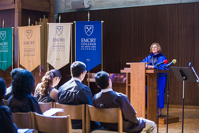 Emory President Claire E. Sterk addresses the audience at Emory's Baccalaureate