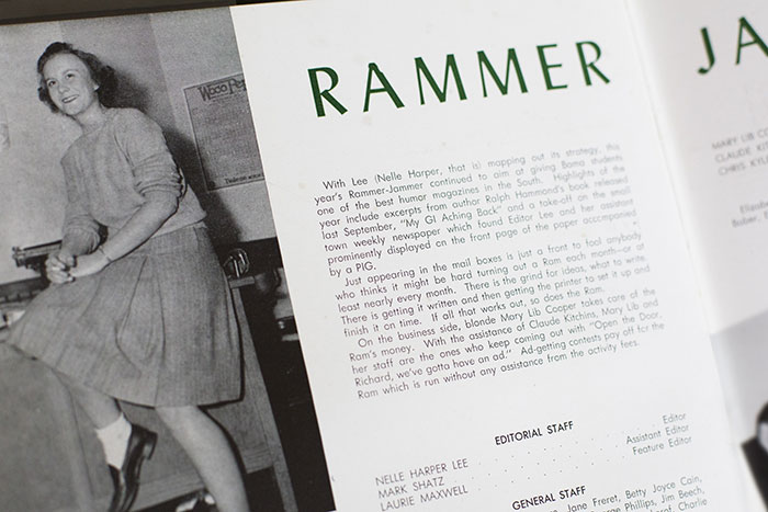 A photo of a young Harper Lee in a copy of a 1947 University of Alabama yearbook