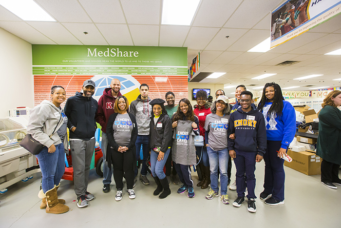 Emory community members pose for a photo at MedShare