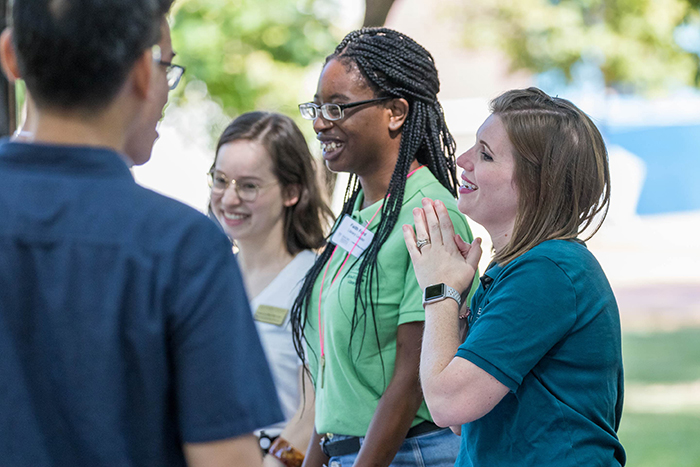 Students gather excitedly for Move-In Day