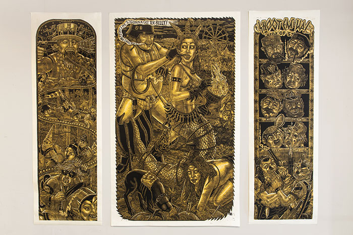 Three separate art panels, all gold and black, with a lot of scenes including humans an animals