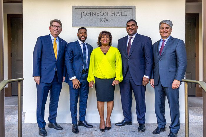 Oxford College Dean Doug Hicks, Bryant Johnson, Michelle Johnson, James Johnson and Emory President Gregory L. Fenves at the renaming ceremony.