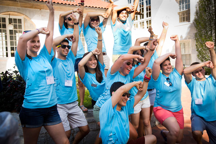 "Emory students are ""welcomed home"" by Residence Life student staff during 2014 Move-in Day."