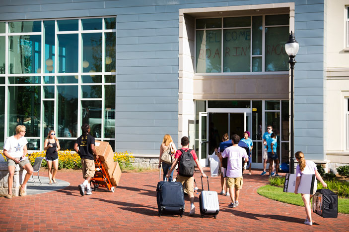 Students stream into Raoul Hall, Emory¿s newest first-year residence hall, with a focus on social entrepreneurship.