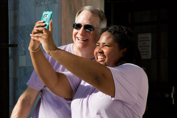 Emory University move-in day presents the perfect opportunity to capture a selfie with President James Wagner.