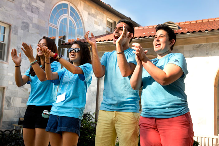 Spirits are high as new students receive an exuberant welcome on Move-in Day.