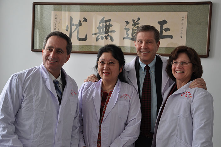 Left to Right: Laurence Sperling, MD, Xaioping Meng, MD, David Burke, MD and Kathy Lee Bishop