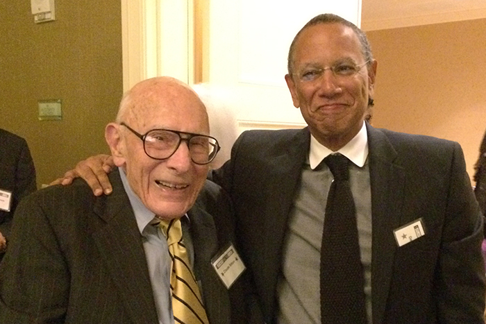 Emory graduate and Pulitzer Prize winner Claude Sitton (left) was introduced by New York Times Executive Editor Dean Baquet (right) as Sitton was inducted into the Atlanta Press Club Hall of Fame on Nov. 7, 2014.