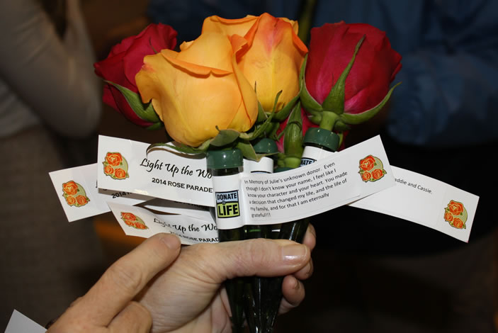 Roses with special messages written to Julie Allred's donor.