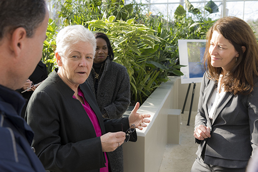 EPA Administrator Gina McCarthy (left) with Ciannat Howett, director of Emory¿s Office of Sustainability Initiatives, during a Feb. 5 tour of Emory¿s new WaterHub reclamation facility.