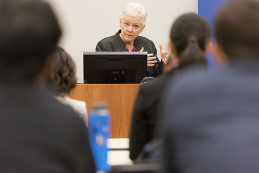 McCarthy urged law students to connect environmental and economic issues.