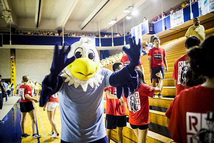 Emory mascot Swoop at Songfest