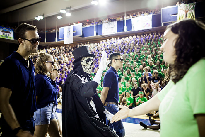 Dooley, Emory's unofficial skeleton mascot, at Songfest