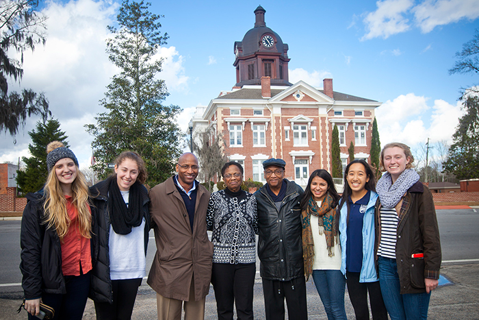 After sharing a meal at a local diner, the group posed for a photo before saying goodbye. From left, they are Cold Cases Project students Ellie Studdard (who found the grave) and Emily Gaines; Tony Williams, son of Dorothy Nixon Williams; Dorothy Williams, daughter of Isaiah Nixon; her husband, Sam Williams; and students Sarah Husain, Emily Li and Lucy Baker.