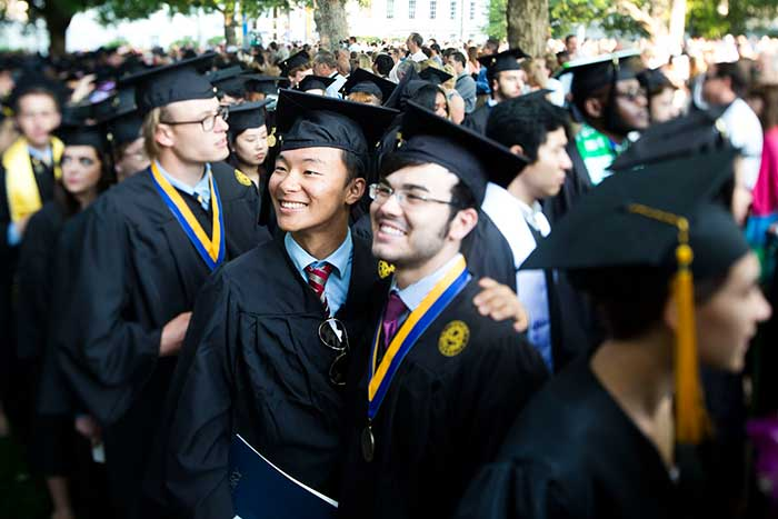 Rooted in centuries-old tradition, graduation exercises began Monday, May 11, at 8 a.m., as the plaintive cry of bagpipes and the rumble of drums signaled the opening processional that led graduates, faculty, university trustees and dignitaries onto the Emory Quadrangle.