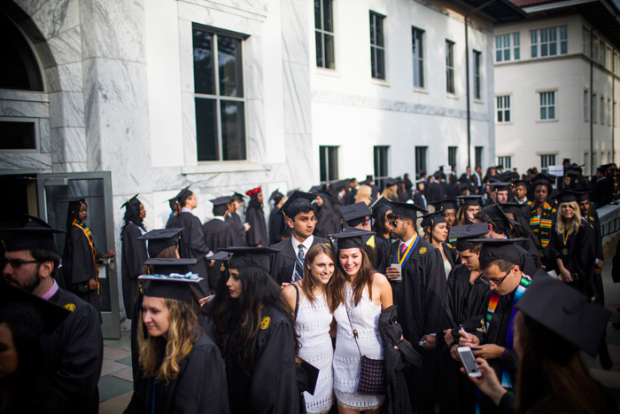 Students gather before Emory's 171st Commencement.