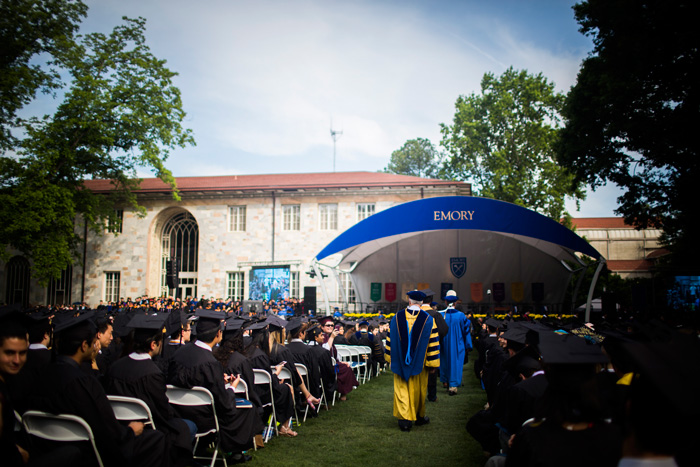 Emory President James Wagner concludes the procession to the stage for Commencement.