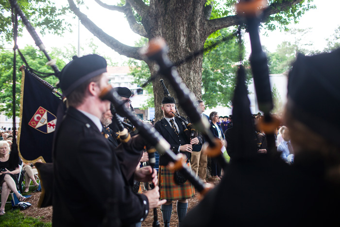 Bagpipes are part of the traditional procession into Commencement.