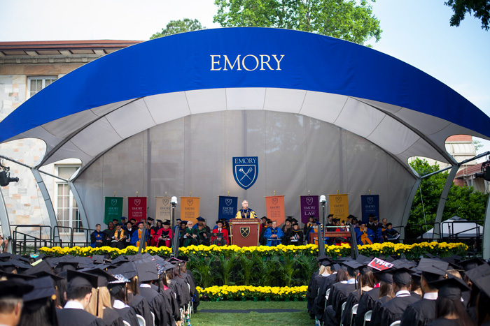 "Presiding over his last Emory Commencement, President Wagner praises the Class of 2016 as ""entrepreneurs of care."""