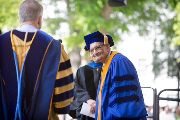 Nobel laureate and Harvard professor Amartya Sen receives an honorary degree for his groundbreaking research into welfare economics and the impact of economic policies on nations and communities.