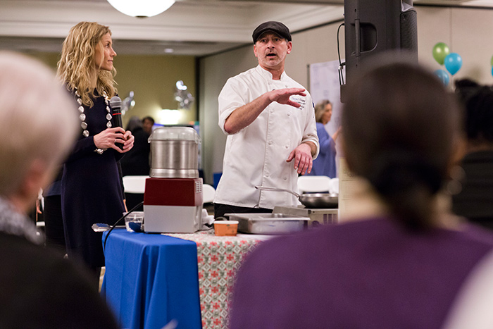 oe Bodine, sous chef of Bon Appetit, Emory's food service vendor, offered a cooking demonstration.