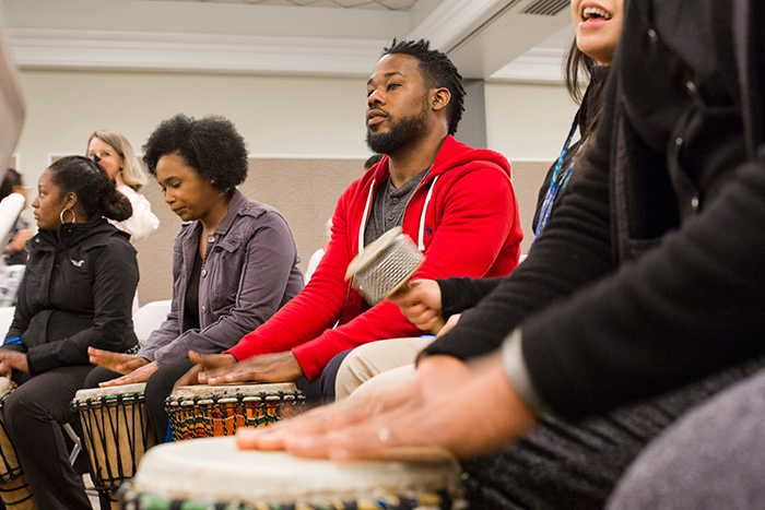 A drum circle showcased one way to relieve stress and build community.