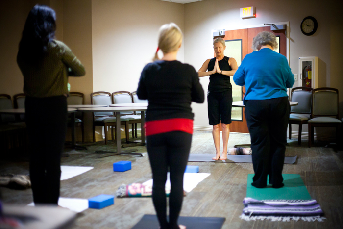 Yoga was one of the activities offered by the Healthy New YOU Expo at Emory John's Creek Hospital.