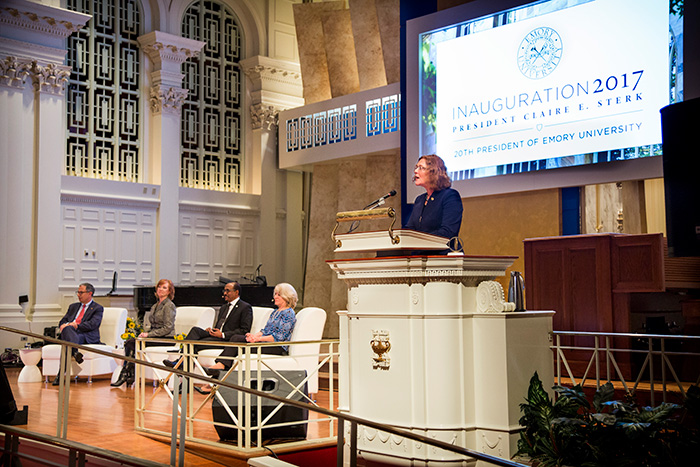 "Emory President Claire E. Sterk welcomed speakers and attendees to Tuesday's Inauguration Academic Symposium, ""Health Challenges and Bold Opportunities."""