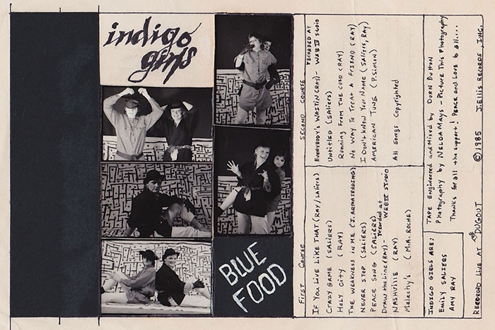 "Indigo Girls put out their first homemade cassette, ""Blue Food,"" in 1985. Songs were recorded live at The Dugout, a hangout on Oxford Road across the street from campus, and the cassette covers were handwritten."