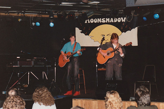 Indigo Girls Amy Ray and Emily Saliers on stage at the Moonshadow Saloon in Atlanta while both were students at Emory.