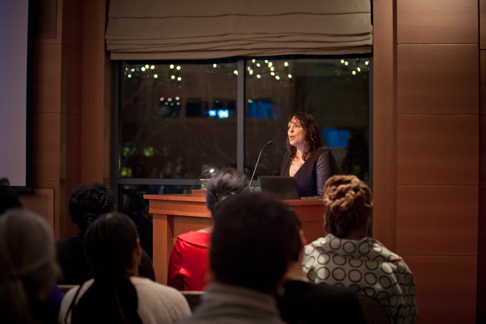 Professor Natasha Trethewey speaks at the James Weldon Johnson Institute launch.