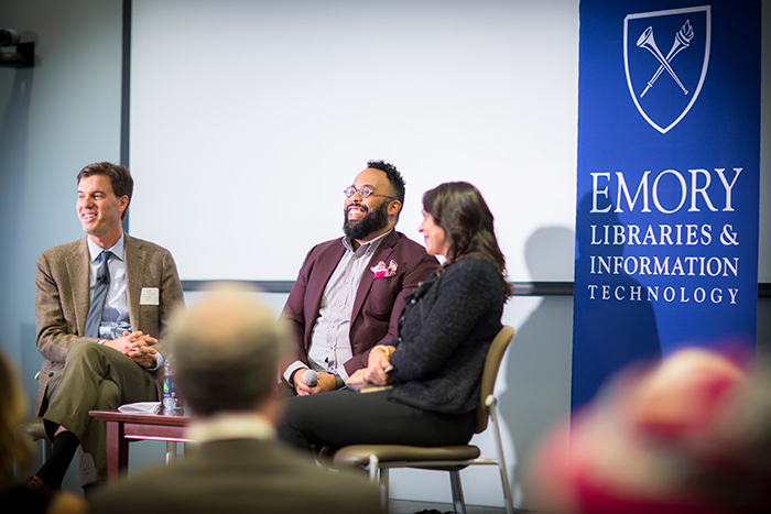 "Emory professors Joe Crespino, Kevin Young and Natasha Trethewey discuss poetry and history at the ""Neil Asks"" event."