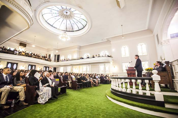 Oxford College Dean Douglas Hicks welcomed a capacity crowd to the student memorial service Sunday at Allen Memorial United Methodist Church on Emory's Oxford campus.