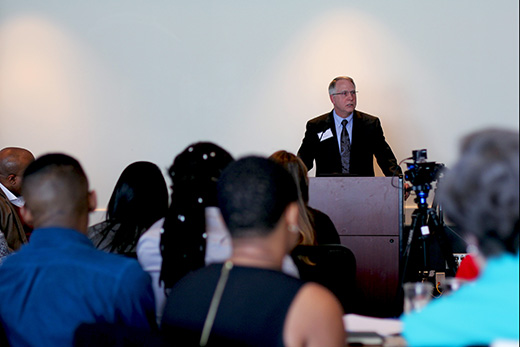 "In opening remarks at the Racial Justice Retreat, Emory President James Wagner expressed appreciation for the ""constructive activism"" of student leaders."