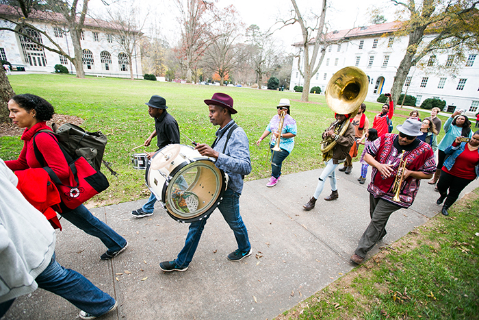In addition to Quilt on the Quad, Emory recognized the day with a parade,  led by the Mausiki Scales Common Ground Collective Band, an Afrobeat band that explores musical styles from West Africa.