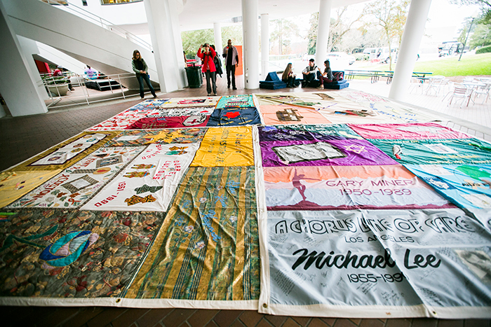 For the past decade, Emory's annual Quilt on the Quad, the largest collegiate display of AIDS Memorial Quilt panels in the U.S., has served as a reminder to anyone walking through campus. Usually taking up a large portion of the quad, the quilt was moved indoors to the Dobbs University Center (DUC) and Atwood Chemistry Center due to the possibility of rain.